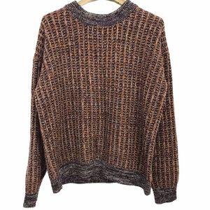 COS Woven Knit Wool Zipper Back Crew Neck Sweater